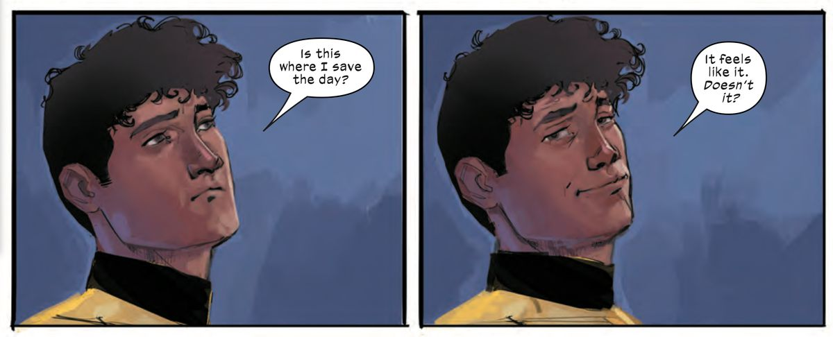 """Sunspot/Roberto da Costa looks at the reader. """"Is this where I save the day? It feels like it. Doesn't it?"""" he says, in New Mutants #1, Marvel Comics (2019)."""