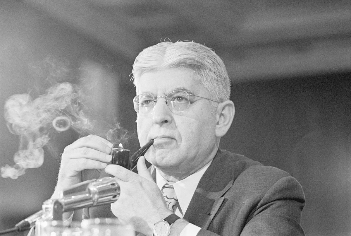 Federal Reserve Board Chair Arthur Burns Smoking Pipe