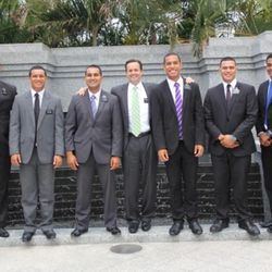 Australian rugby star Will Hopoate (purple tie, right center), with his president Lon Henderson and other missionaries in Brisbane, Australia.