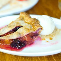 "Blueberry-Peach Pie with Elderflower Frozen Yogurt from The Dutch by <a href=""http://www.flickr.com/photos/gourmetgourmand/8080268849/in/pool-eater/"">gourmetgourmand</a>"