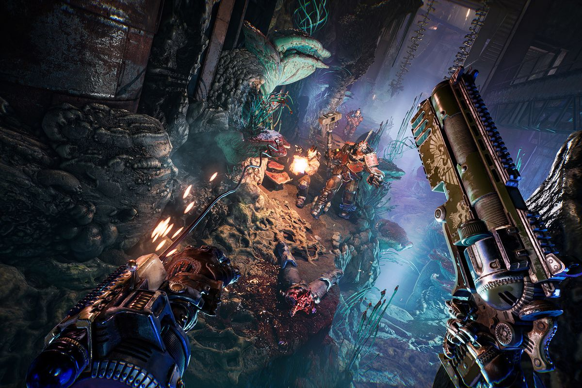 Necromunda: Hired Gun - a player uses their pistol to fire at a swarm of armored enemies as they swing through the air in a dynamic sci-fi action scene.