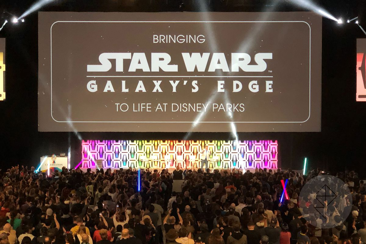 Warming up the crowd before a presentation about Star Wars: Galaxy's Edge at Star Wars Celebration 2019.
