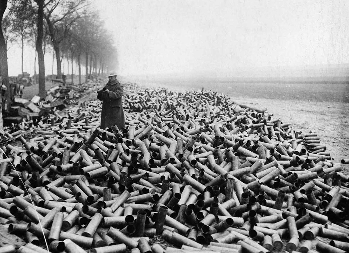 Vast quantities of used shell casings and unused shells had to be disposed off after the war ended