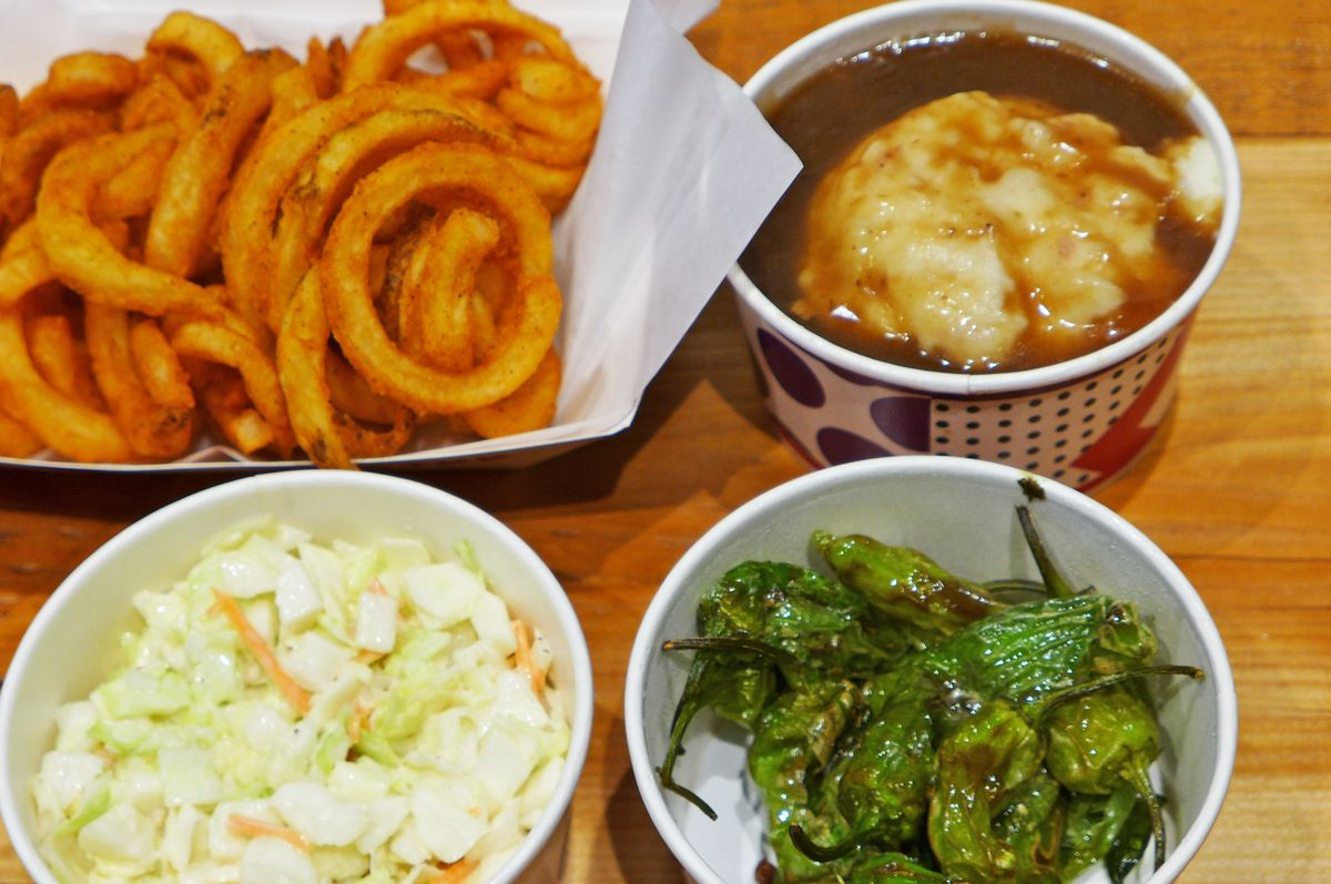 Your side selection: skip the chalky curly fries.