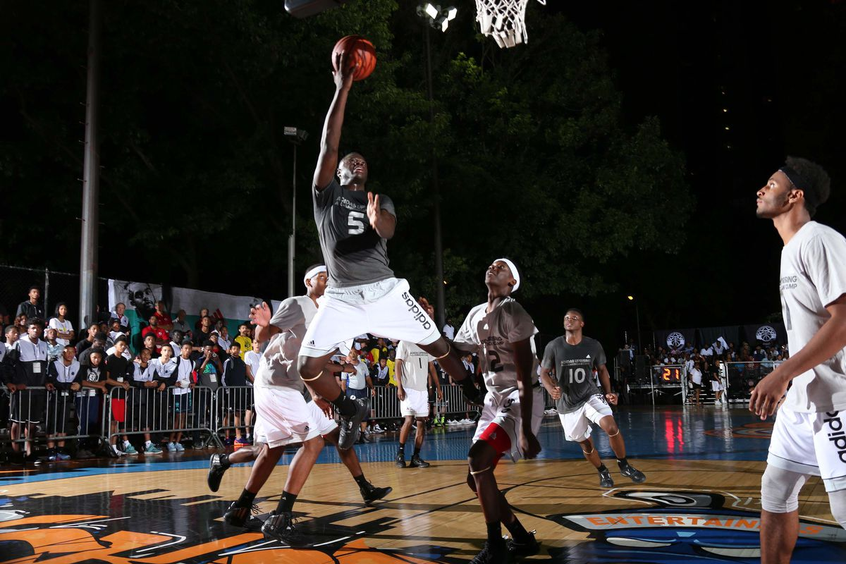 New York, NY (July 16, 2015) New York native Rawle Alkins drives to the basket during adidas Uprising All-American Camp at Rucker Park.