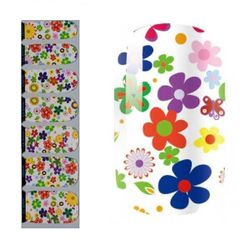 """<b>OMG Nail Strips</b> <a href=""""http://www.omgnailstrips.com/floral-flower-nail-art/white-multi-color-floral-pattern-nail-polish-strips"""">White Floral Pattern Nail Polish Strip</a>, $6.89"""