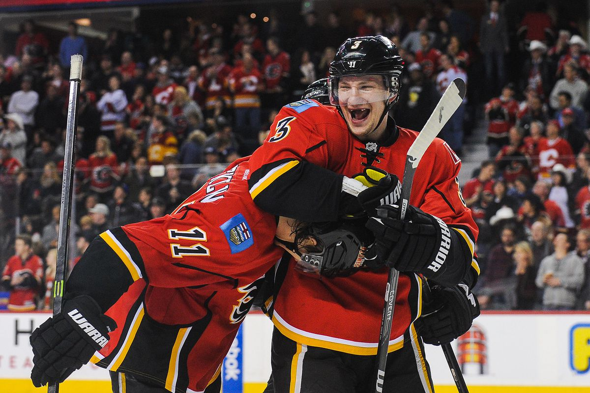 Apparently Ladislav Smid's thing now is to give noogies to those who score OT winners. First Brodie, now Backlund, above.