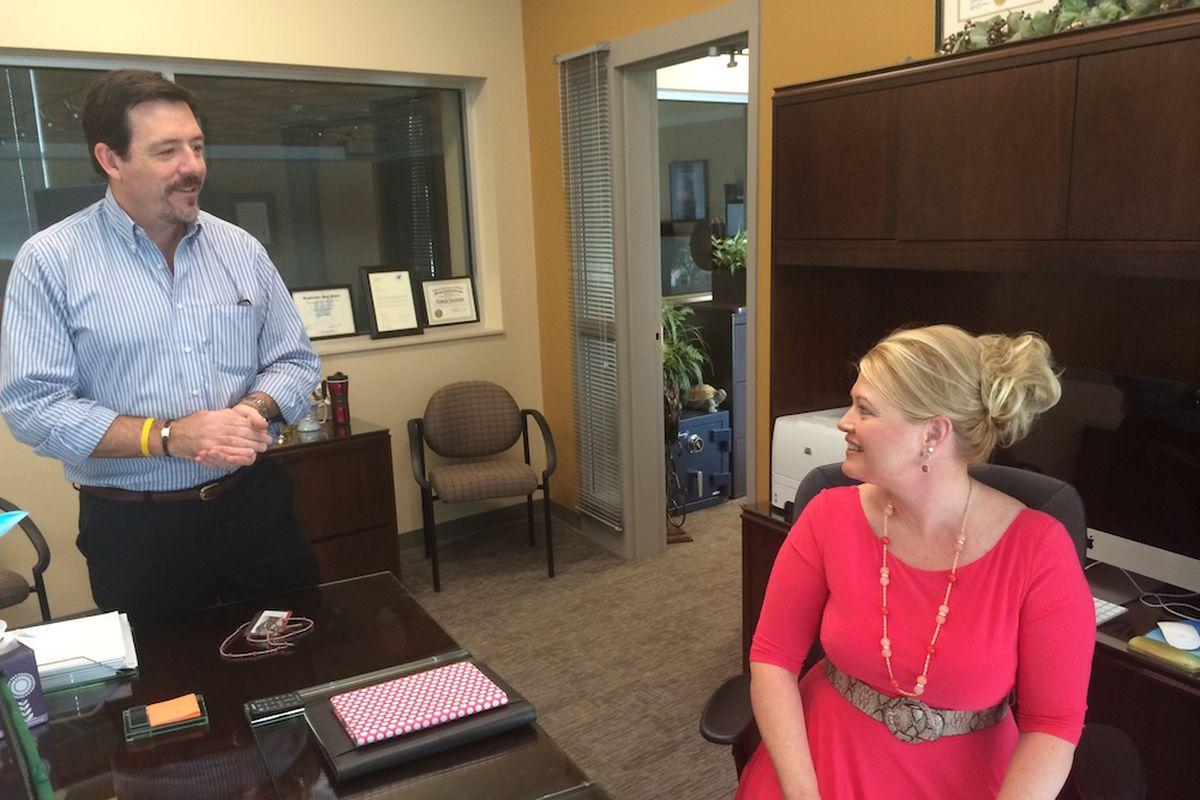 Adams 50 Superintendent Pamela Swanson, right, in her office with the district's spokesman Steve Saunders. Adams 50 officials will meet with the State Board of Education next week to discuss its accreditation rating.