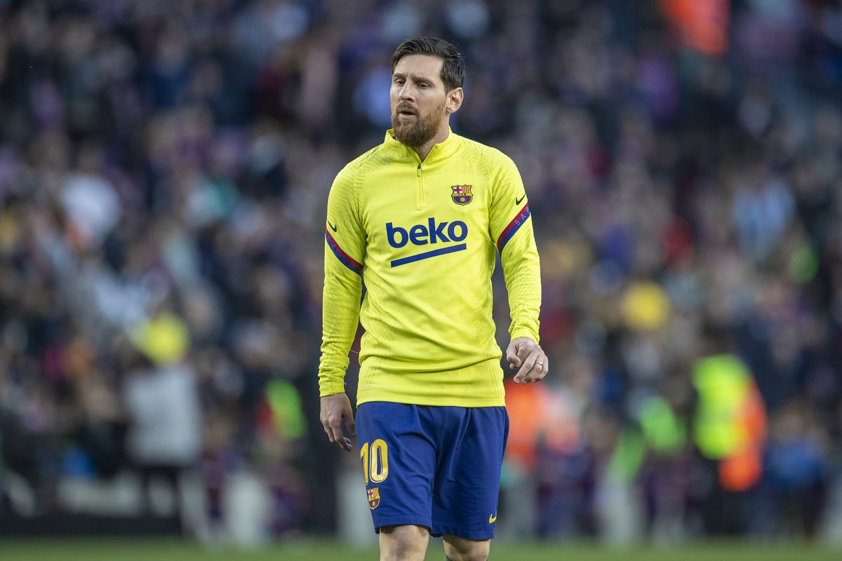 Lionel Messi of Barcelona during team warm up before the Barcelona vs. Real Sociedad, La Liga regular season match at Estadio Camp Nou on March 7th 2020 in Barcelona, Spain.