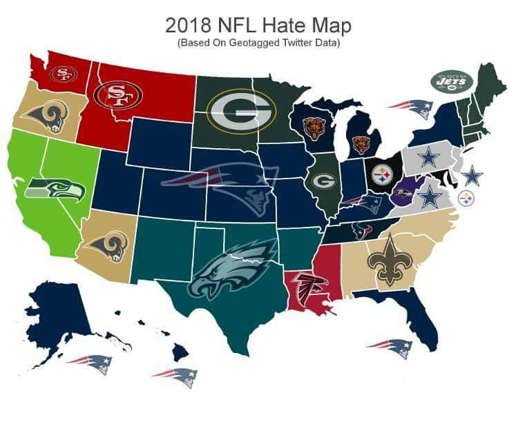 American Map Company Inc.This Map Shows The Patriots Were America S Most Hated Team In 2018