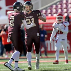 Lone Peak's #2 Tyler Macpherson and # 21 Jackson McChesney celebrate after scoriing against American Fork at Rice-Eccles Stadium in Salt Lake City on Thursday, Nov. 10, 2016.  Lone Peak defeated American Fork, 66-19 to advance to the 5A state football championship next Friday at Rice-Eccles Stadium.