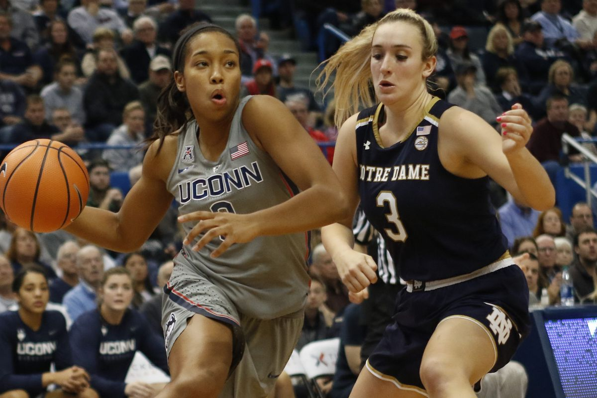 UConn�s Megan Walker (3) drives past Notre Dame's Marina Mabrey (3) during the Notre Dame Fighting Irish vs UConn Huskies women's college basketball game in the Women's Jimmy V Classic at the XL Center in Hartford, CT on December 3, 2017.