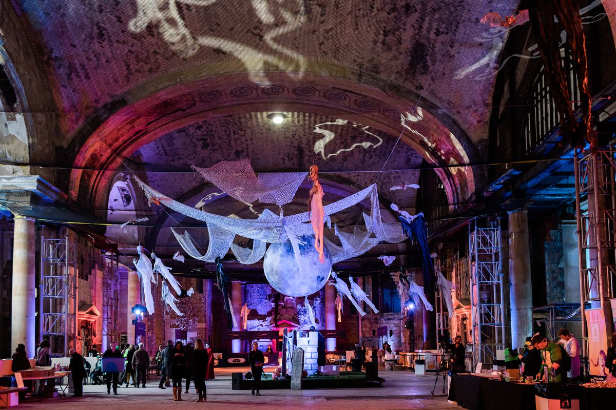 peek inside michigan central station decorated for halloween