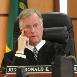 Judge Ronald E. Culpepper presides over Steven Powell's trial in the Pierce County Superior Court house, in Tacoma, Washington,  Monday, May 7, 2012.   Steve Powell is the father-in-law of missing West Valley City woman Susan Powell.