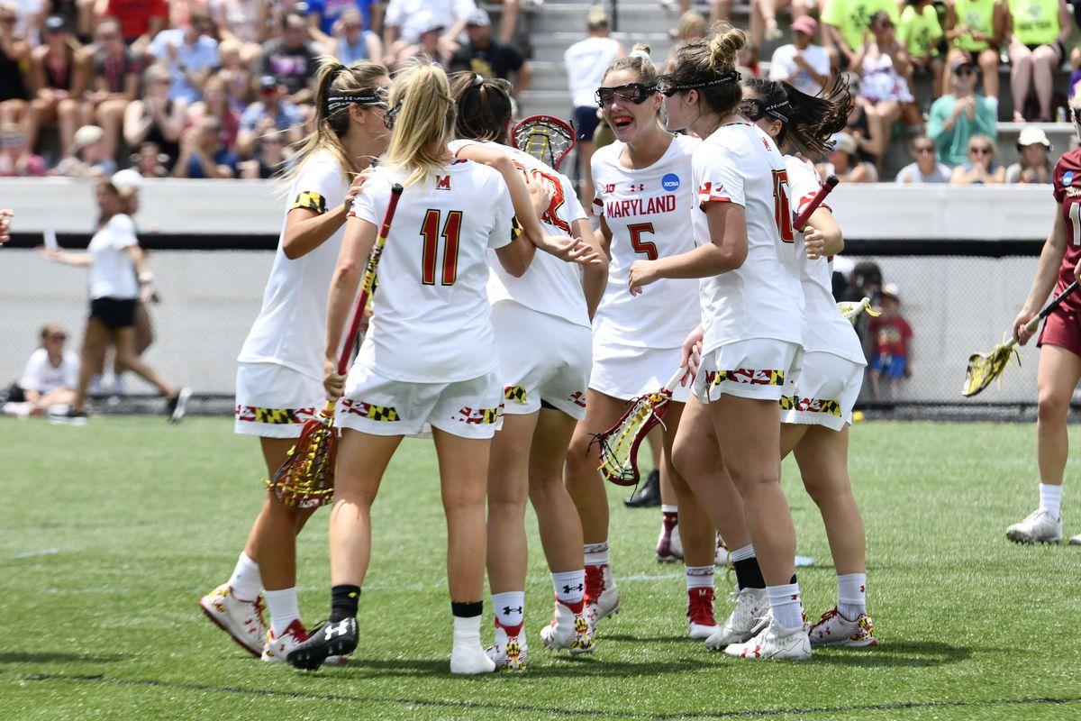 Maryland women's lacrosse huddle NCAA championship vs. Boston College