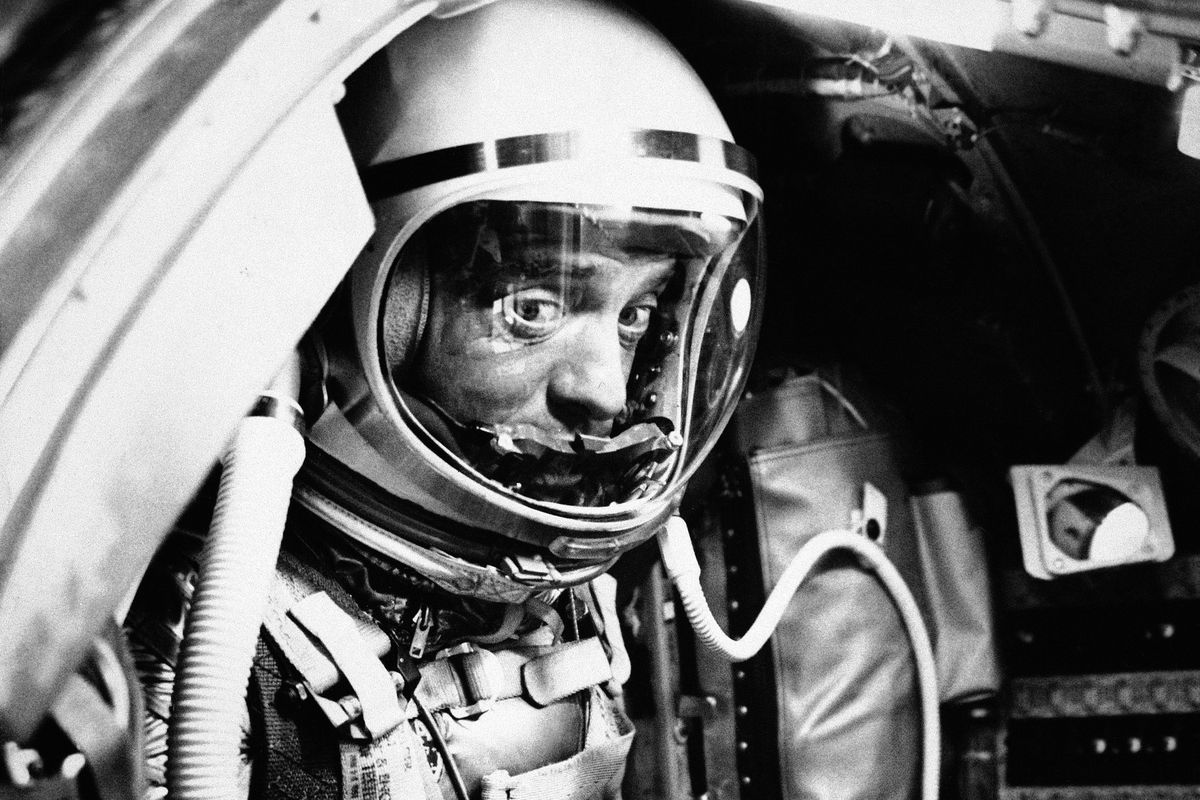 In this May 5, 1961 file photo, astronaut Alan Shepard sits in his capsule at Cape Canaveral, Fla., aboard a Mercury-Redstone rocket. Freedom 7 was the first American manned suborbital space flight, making Shepard the first American in space.