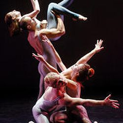 RDT dancers Lynne Listing and Thayer Jonutz, top, and Joshua Larson and Angela Banchero-Kelleher rehearse for a performance.