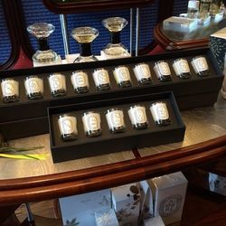 Other gifts include sets of five to 10 miniature candles in scents such as Baies, Jasmin, and Figuier; the sets are $75 to $130.