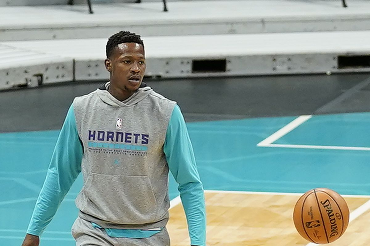 Charlotte Hornets guard Terry Rozier during pre game shoot a round before the game against the Cleveland Cavaliers at the Spectrum Center.