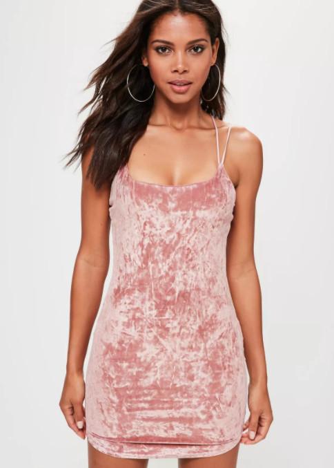 Missguided Pink Velvet Bodycon Dress, $35