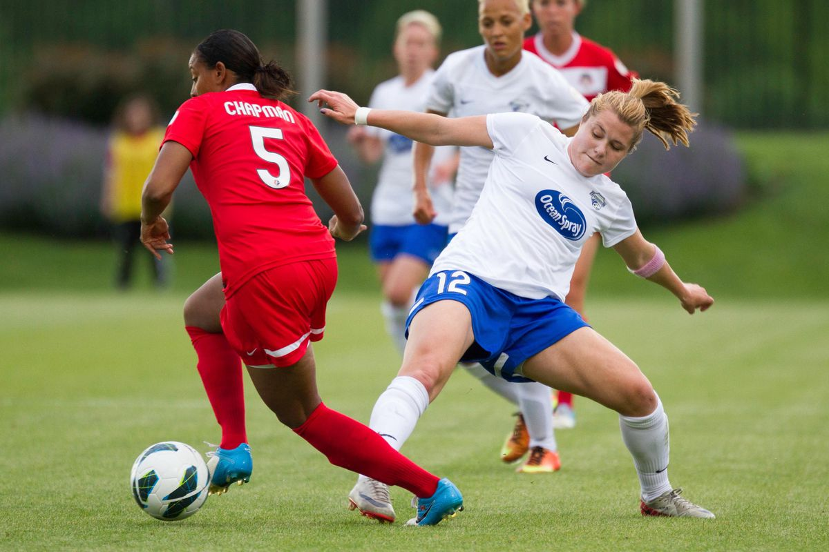 Katie Schoepfer (right) has scored twice for the Breakers this season as a platoon forward.