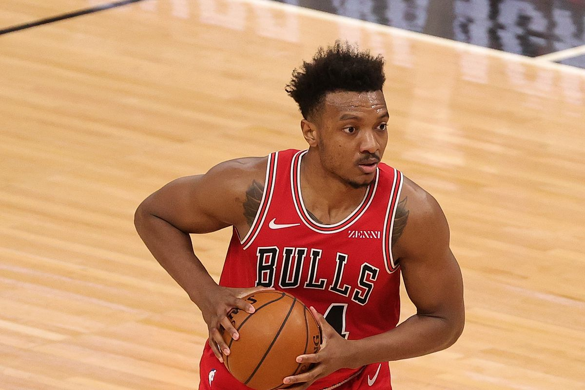 Wendell Carter Jr. of the Chicago Bulls handles the ball during a game against the Sacramento Kings at United Center on February 20, 2021 in Chicago, Illinois.