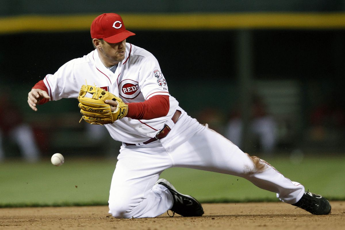 Apr 9, 2012; Cincinnati, OH, USA; Scott Rolen files in his memory bank what it's like to feel anguish...and vows to go all freakbass on the Cardinals every chance he gets from now on.