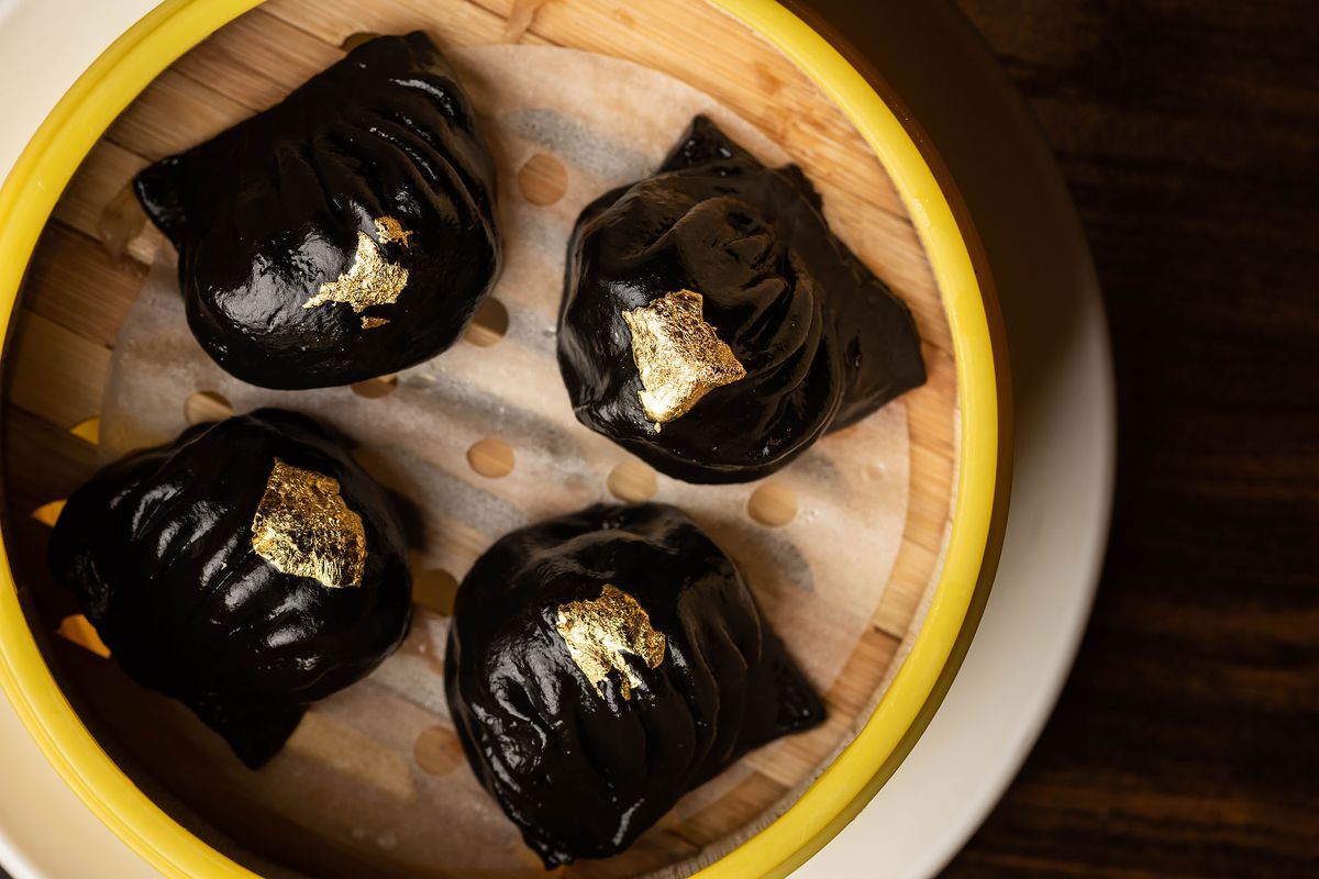 Squid Ink har gow with gold leaf at Chef Tony.