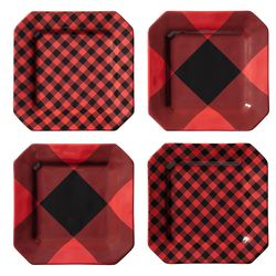 Appetizer Plates in Red/Black Plaid, $30