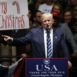 """President-elect Donald Trump speaks to supporters about using the phrase """"Merry Christmas"""" during a rally in Grand Rapids, Mich., on Dec. 9, 2016."""