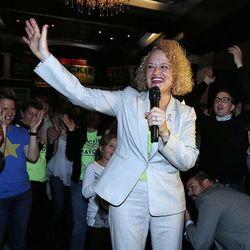 Jackie Biskupski addresses supporters and the media during her election night party at Kimi's Chop and Oyster House in Sugar House on Tuesday, Nov. 3, 2015.