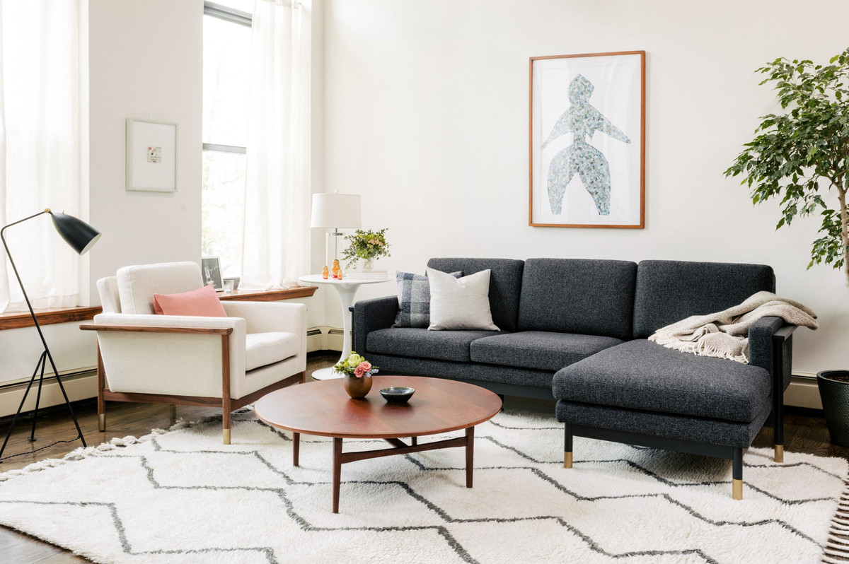 Chaise sectional in living room