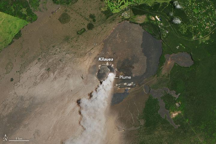 Ash plume rising from Kilauea volcano on May 14, 2018
