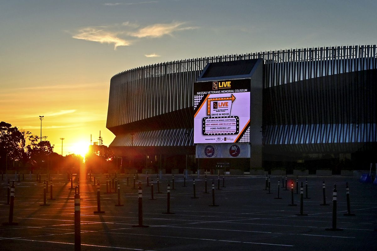 View of the Nassau Coliseum on Long Island as the sun sets