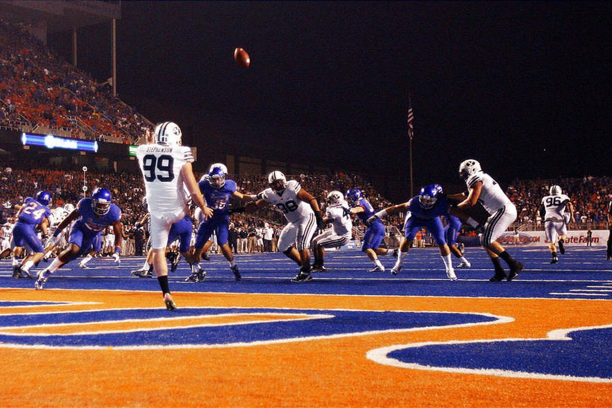BYU punter Riley Stephenson (99) punts from his own end zone during the Cougars' 7-6 road loss to Boise State last Thursday.