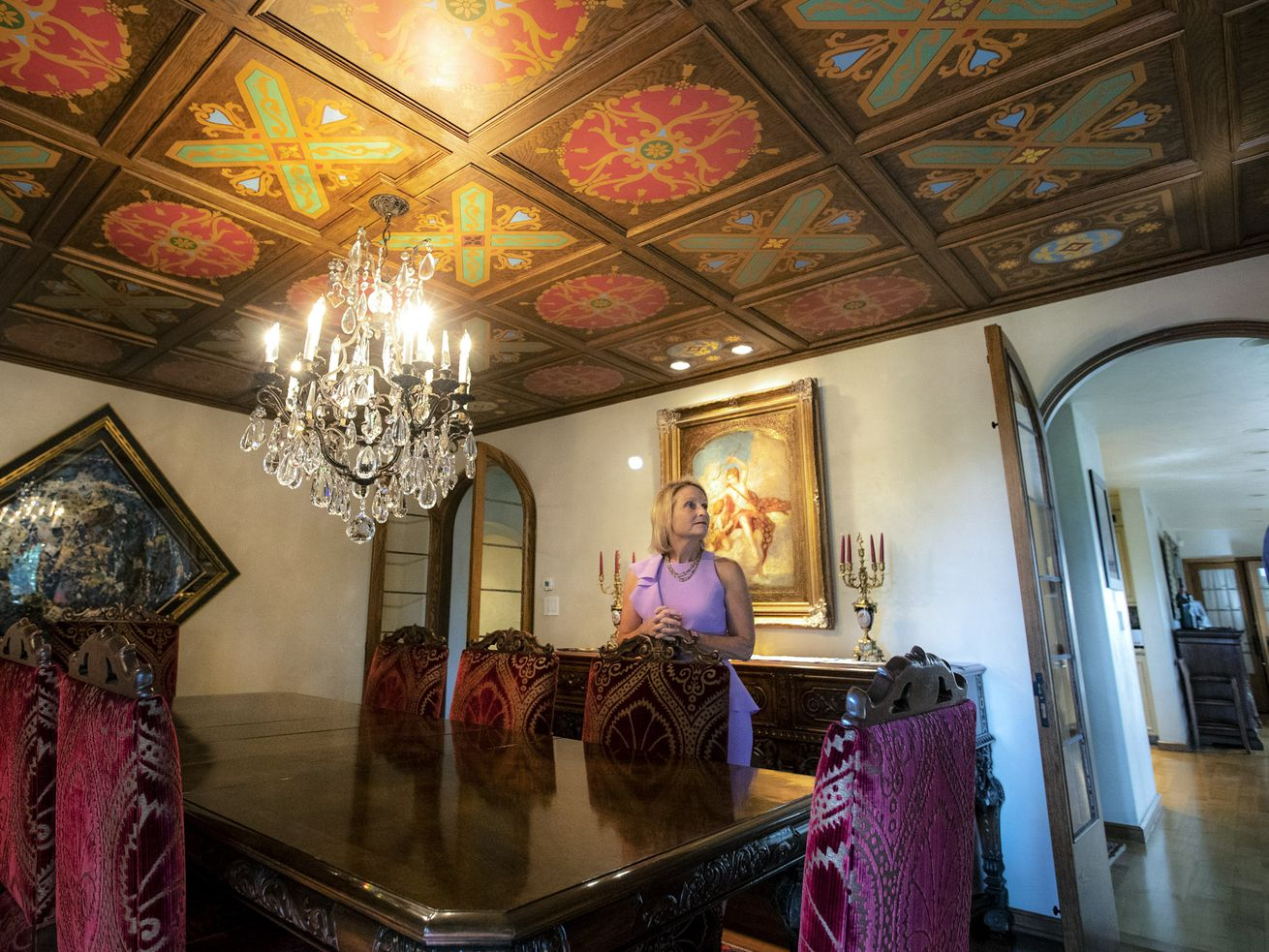 Westminster College president Beth Dobkin gives a tour of the historic Westminster Holt Home in Salt Lake City on Tuesday, Aug. 13, 2019. The 8,019-square-foot home was built in 1926 and was given to Westminster College by Sheri and Dale Holt. The French chateau-style home will be used for entertaining and meeting space as well as the college president's residence.