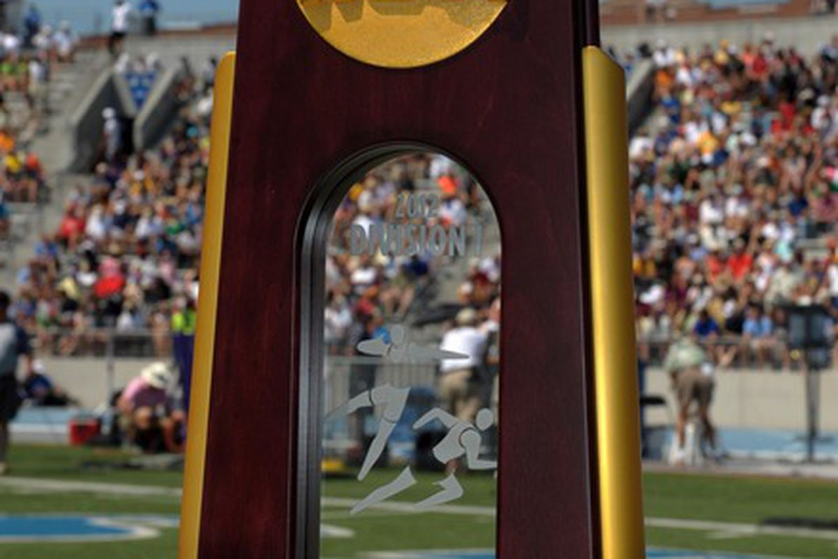 Jun 9, 2012; Des Moines, IA, USA; General view of the NCAA team champion trophy at the 2012 NCAA Track & Field Championships at Drake Stadium. Mandatory Credit: Kirby Lee/Image of Sport-US PRESSWIRE