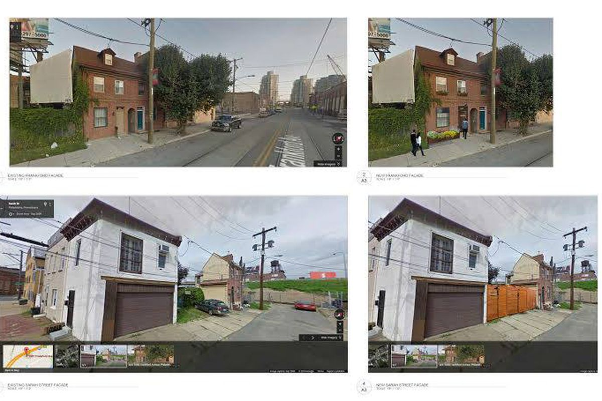 Front and back of the proposed restaurant. Existing and proposed.
