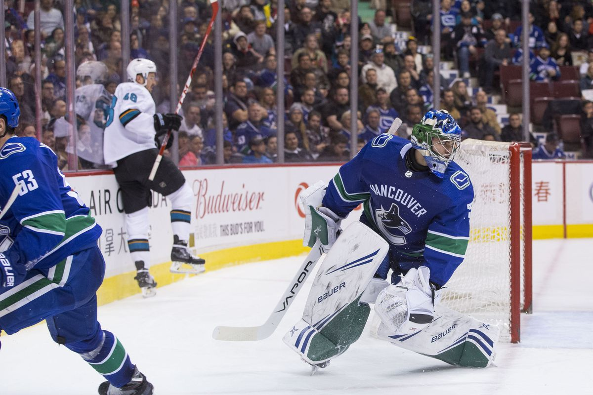 Feb 11, 2019; Vancouver, British Columbia, CAN; San Jose Sharks forward Tomas Hertl (48) celebrates his goal in behind Vancouver Canucks goalie Michael Dipietro (75) in the second period during a game at Rogers Arena.