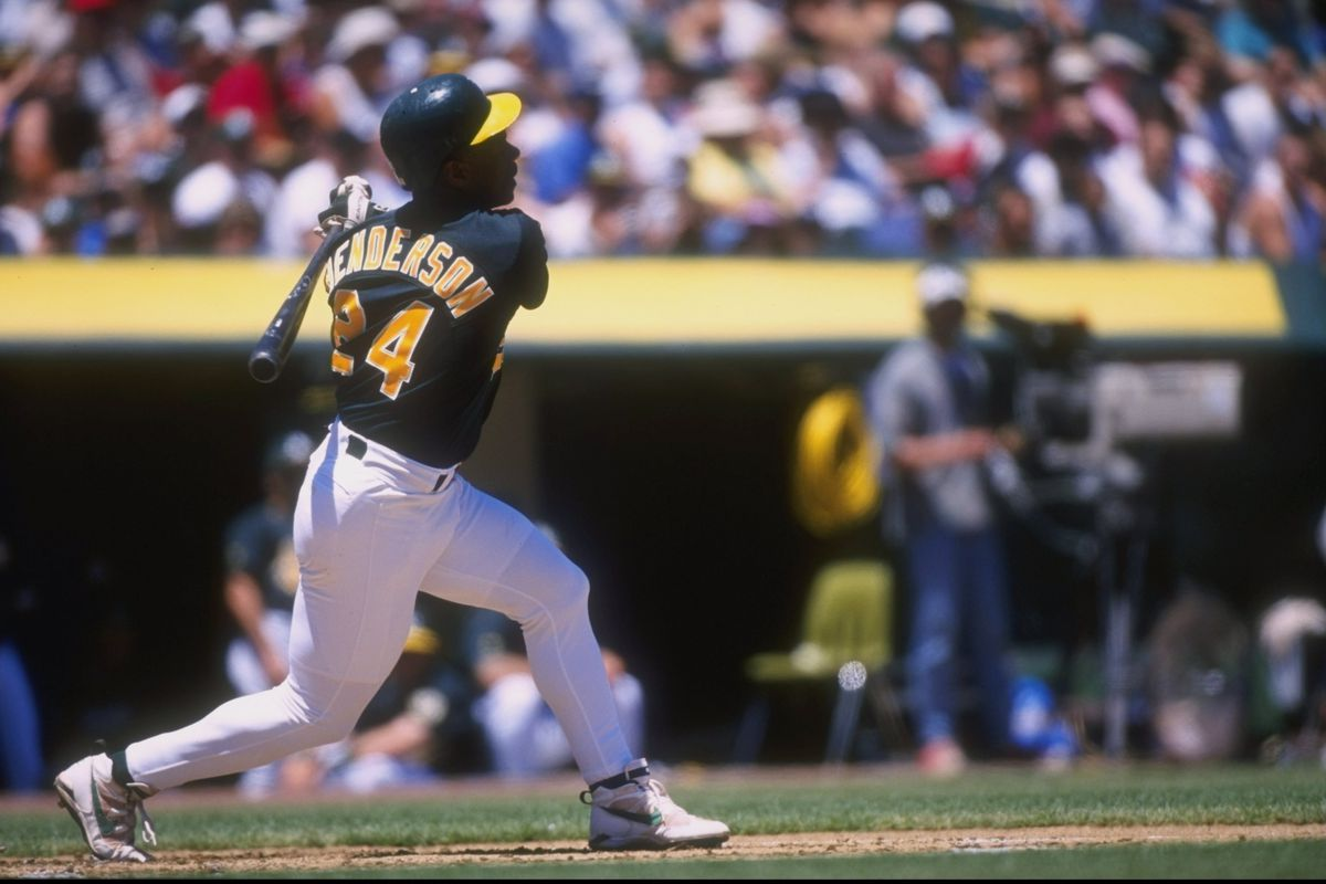 The A's brought Rickey Henderson back on January 22, 1998. He won the stolen bases title at the age of 39.