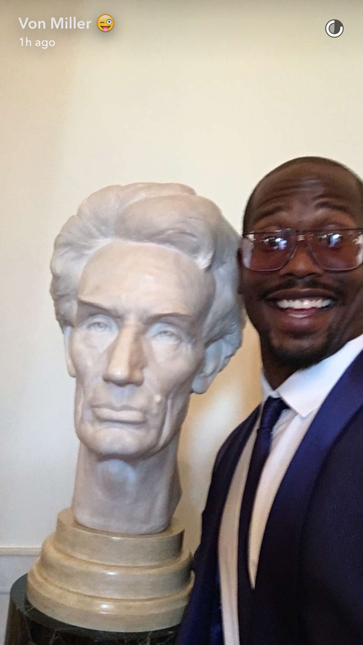 Super Bowl MVP Von Miller, who was documenting it all on Snapchat,  especially enjoyed the White House napkins and taking photos with artwork  he'd be flagged ...