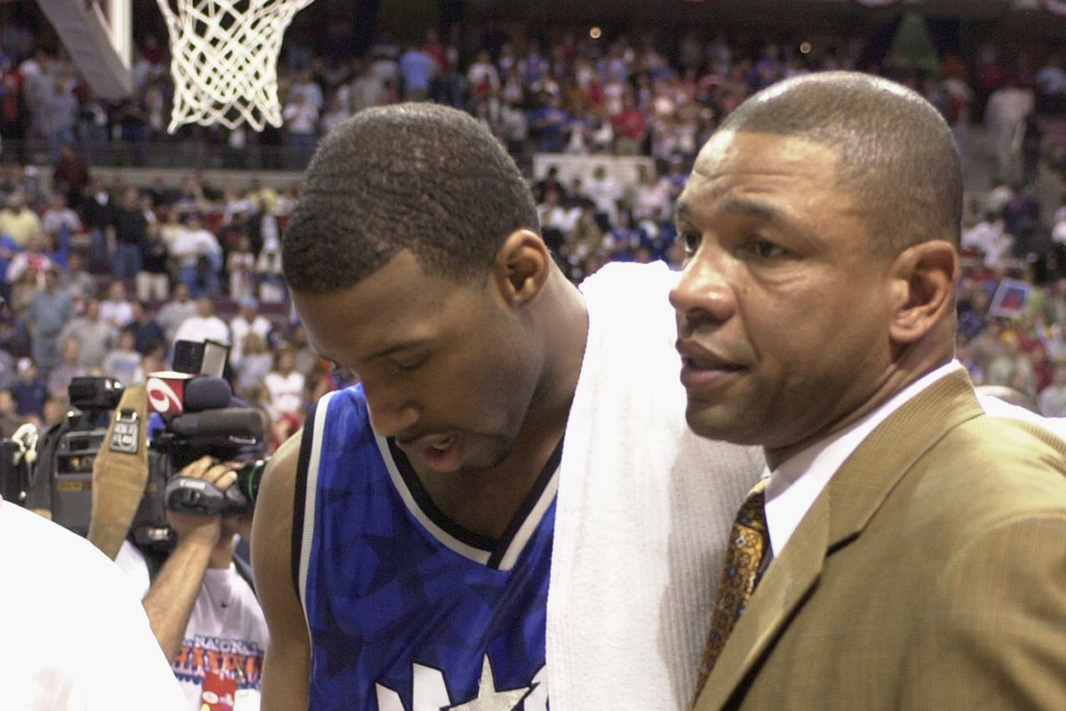 Tracy McGrady and Doc Rivers after Game 7 loss