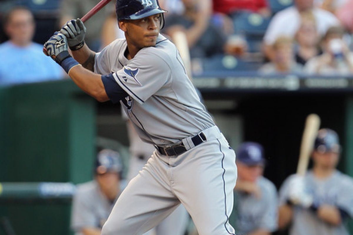 Desmond Jennings of the Tampa Bay Rays bats during the game against the Kansas City Royals on July 23, 2011 at Kauffman Stadium in Kansas City, Missouri.  (Photo by Jamie Squire/Getty Images)