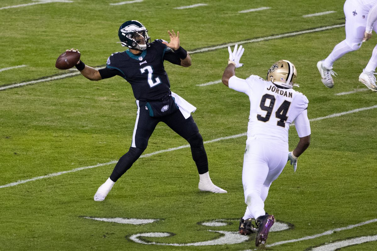 Philadelphia Eagles quarterback Jalen Hurts (2) passes the ball in front of New Orleans Saints defensive end Cameron Jordan (94) during the first quarter at Lincoln Financial Field.