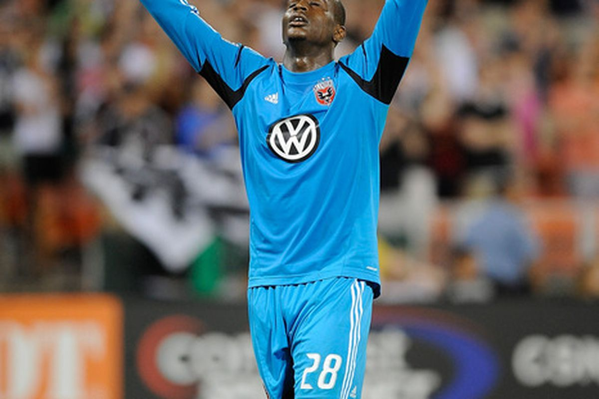 WASHINGTON, DC - MAY 26:  Bill Hamid #28 of D.C. United celebrates after defeating the New England Revolution 3-2 at RFK Stadium on May 26, 2012 in Washington, DC.  (Photo by Patrick McDermott/Getty Images)