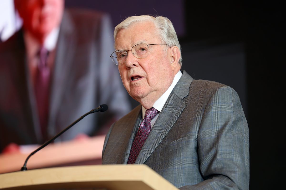 President M. Russell Ballard, acting president of the Quorum of the Twelve Apostles of The Church of Jesus Christ of Latter-day Saints, speaks prior to offering the dedicatory prayer for the new Pioneer Center at This Is the Place Heritage Park in Salt Lake City on Friday, March 26, 2021.