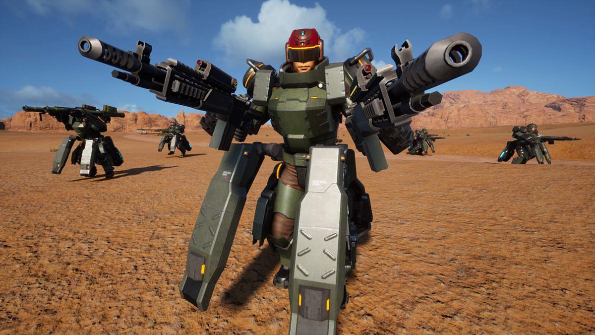 Earth Defense Force: Iron Rain - soldier dual-wielding