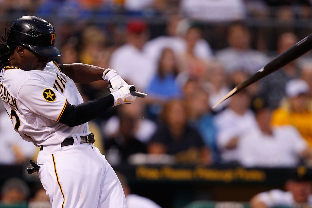 PITTSBURGH - JULY 06:  Andrew McCutchen #22 of the Pittsburgh Pirates breaks his bat on a groundout against the Houston Astros during the game on July 6, 2011 at PNC Park in Pittsburgh, Pennsylvania.  (Photo by Jared Wickerham/Getty Images)