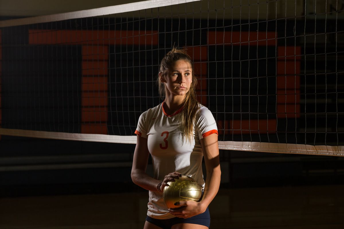 Dani Barton, outside hitter for Brighton High School and the Deseret News Ms. Volleyball 2016, poses for a photo at the school in Cottonwood Heights on Wednesday, Dec. 7, 2016.