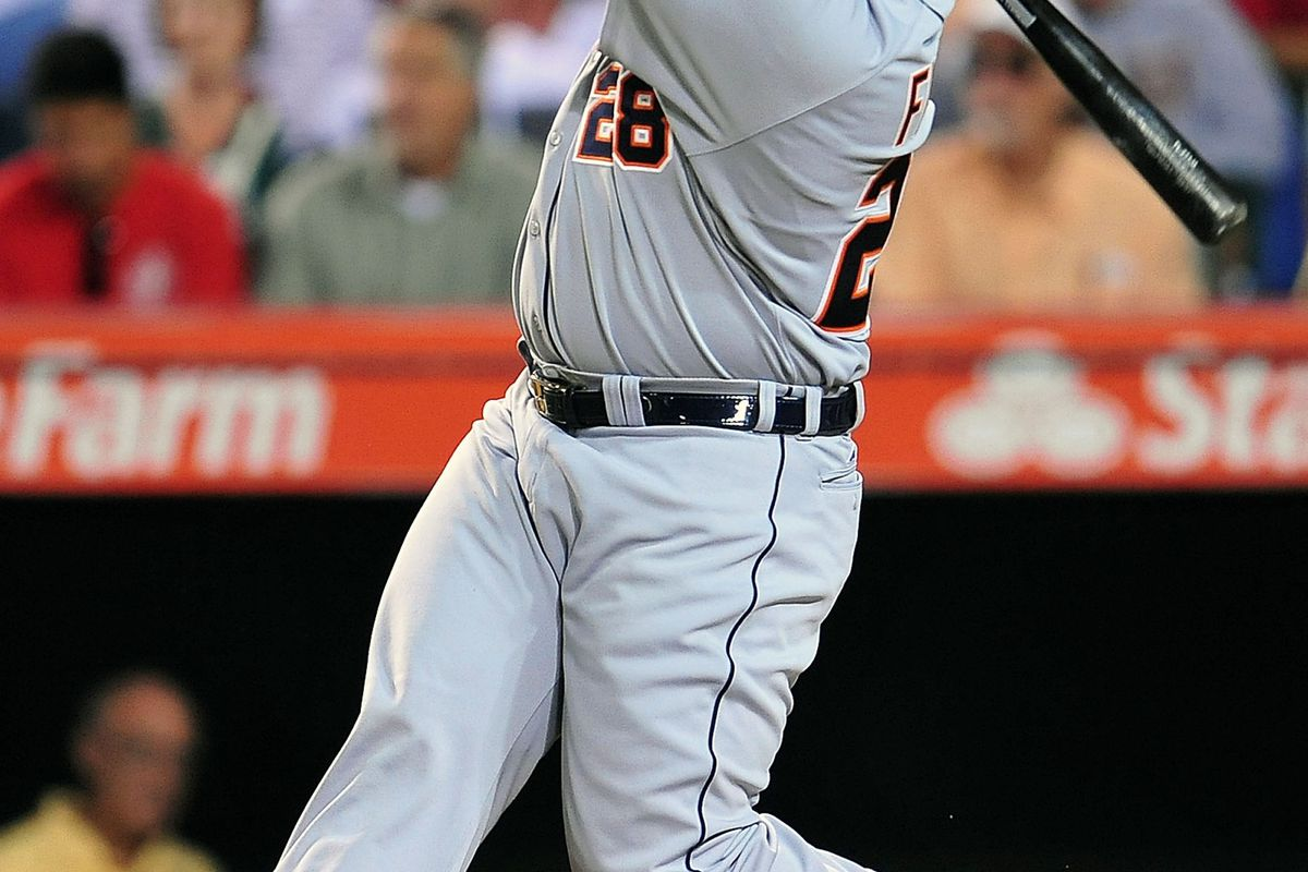 September 7, 2012; Anaheim, CA, USA; Detroit Tigers first baseman Prince Fielder (28) hits a solo home run in the first inning against the Los Angeles Angels at Angel Stadium. Mandatory Credit: Gary A. Vasquez-US PRESSWIRE